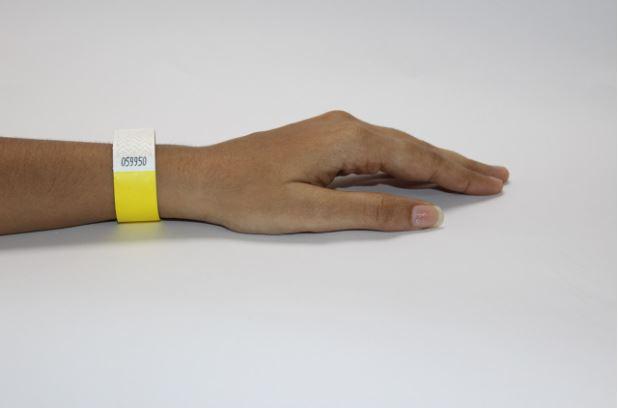 wristband on patient wrist